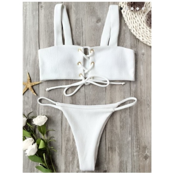 89be29333c0 Zaful ribbed texture lace up bathing suit. M_5a6a54d705f430a6236c209a